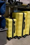Yellow travel plastic suitcases with wheels in different sizes f. Or sale in store display Royalty Free Stock Images