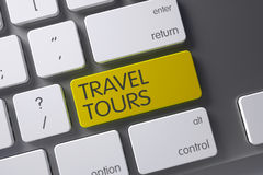 Yellow Travel Tours Button on Keyboard. 3D Render. Stock Photography