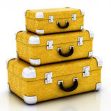 Yellow traveling bag Stock Photos