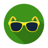 Yellow trendy sunglasses icon in flat style isolated on white background. Stock Photography