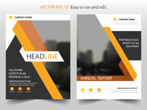 Yellow triangle annual report brochure flyer design template vector, Leaflet cover presentation abstract flat background,. Layout in A4 size vector illustration