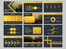 Yellow triangle Bundle infographic elements presentation template. business annual report, brochure, leaflet, advertising flyer,. Corporate marketing banner Stock Image