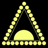 Yellow triangle consisting circle, line, isolated black backgrou Royalty Free Stock Images