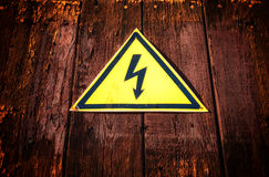 Yellow Triangle Electricity Warning Sign Stock Photo