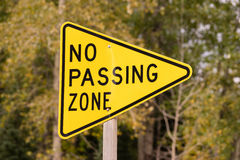 Yellow Triangle Road Sign Warning No Passing Zone Royalty Free Stock Image