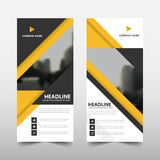 Yellow triangle roll up business brochure flyer banner design , cover presentation abstract geometric background,. Modern publication x-banner and flag-banner Stock Photo