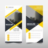Yellow triangle roll up business brochure flyer banner design , cover presentation abstract geometric background, stock illustration