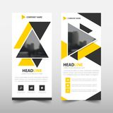 Yellow triangle roll up business brochure flyer banner design , cover presentation abstract geometric background,. Modern publication x-banner and flag-banner Stock Photography