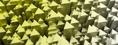 Yellow triangles abstract background. 3d illustration Royalty Free Stock Photo