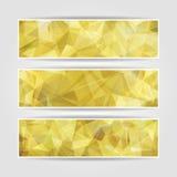 Yellow Triangular Polygonal banners set. Abstract yellow Triangular Polygonal banners set Royalty Free Stock Photo