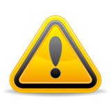 Yellow triangular warning sign Royalty Free Stock Images