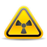 Yellow triangular warning sign Royalty Free Stock Image