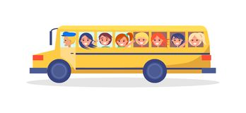 Yellow Trip Bus with Kids Going on Excursion. In school transport isolated on white. Driver in hat, children looking into window vector illustration Royalty Free Stock Photo