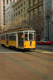 Yellow Trolley. A yellow and white 1928 Peter Witt trolley car from Milan, Italy, in downtown San Francisco stock photography