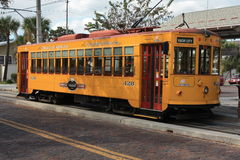 Yellow Trolley. A yellow trolley in Ybor city right outside downtown Tampa Stock Photography