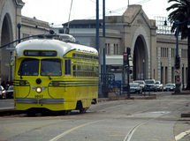Yellow trolley car, San Francisco, California. Yellow trolley car on streets of San Francisco, California Royalty Free Stock Photo
