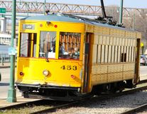 Yellow Trolley in Downtown Memphis, Tennessee Stock Images