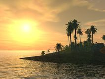 Yellow Tropical Island Sunset Stock Images
