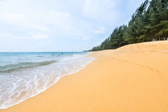 Yellow tropical sandy beach and blue sea landscape Stock Photo