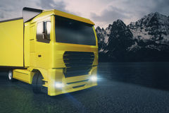 Yellow truck closeup. Closeup and side view of yellow truck with blank trailer on mountain landscape background. Mock up, 3D Rendering Stock Image