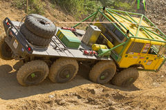 Yellow truck at difficult terrain Royalty Free Stock Photos