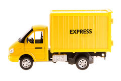 Yellow truck isolated. On white background royalty free stock photo