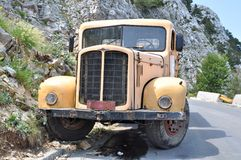 Yellow truck in the mountain Royalty Free Stock Image