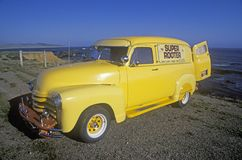 A yellow truck on the Pacific Coast Highway, California Stock Photos