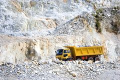 Yellow Truck at Quarry royalty free stock photography