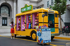 Yellow truck that sells Sesame Street merchandise Royalty Free Stock Images