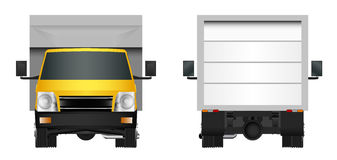 Yellow truck template. Cargo van Vector illustration EPS 10 isolated on white background. City commercial vehicle delivery. Stock Photo