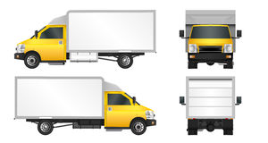 Yellow truck template. Cargo van Vector illustration EPS 10 isolated on white background. City commercial vehicle delivery. Stock Image