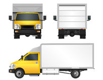 Yellow truck template. Cargo van Vector illustration EPS 10 isolated on white background. City commercial vehicle delivery. Royalty Free Stock Photography