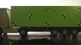 Yellow truck, trailer on the road, highway. Simple Green Screen Tracking. 3d rendering