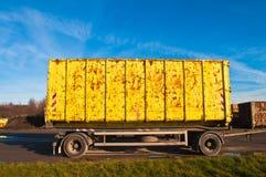 Yellow truck trailer Stock Photo