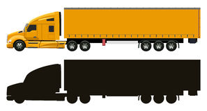 Yellow truck with a trailer Stock Images