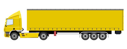 Yellow truck with a trailer Stock Photography