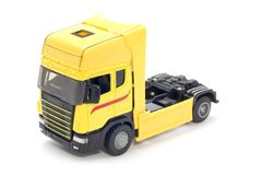 Yellow truck on white Royalty Free Stock Photo