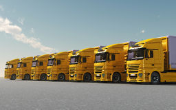 Yellow trucks parked royalty free stock image