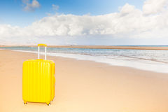 Yellow trunk at the beach Royalty Free Stock Photos