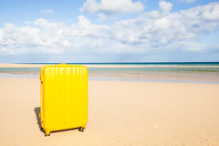 Yellow trunk at the beach Stock Photo