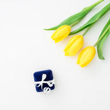 Yellow tulip flowers and ring box on white background. Flat lay, Top view. Stock Image
