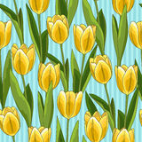 Yellow tulip seamless pattern, blue background Royalty Free Stock Photos