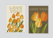 Yellow tulip spring floral design element. Bright flower vector illustration in vintage colors Stock Photo