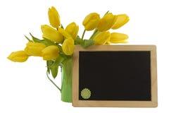 Yellow tulips and blank blackboard Stock Images