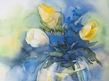 Yellow tulips on blue background watercolor. Yellow and white tulips bouquet on blue background hand made watercolor Stock Photo
