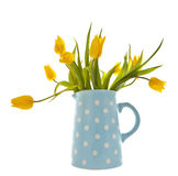 Yellow tulips in a blue spotted jug Stock Photo