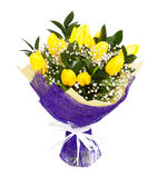 Yellow tulips bouqet. A bouqet of yellow tulips isolated on white background. Possible gift for a valentine's day or a wedding anniversary stock image