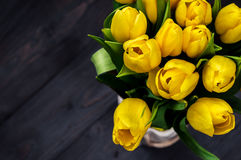 Yellow tulips. Bouquet of yellow tulips. dark background Royalty Free Stock Photography