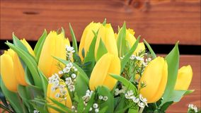 Yellow tulips bouquet with white little blossoms rotate stock video